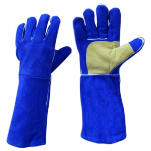 Blue chrome leather gloves Image