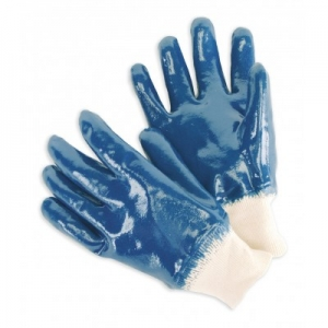 Blue nitrile canvas gloves Image
