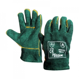 Green lined chrome leather gloves Image